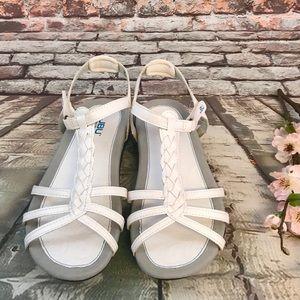 White Strappy Braided JBU Ankle Adjust Sandals